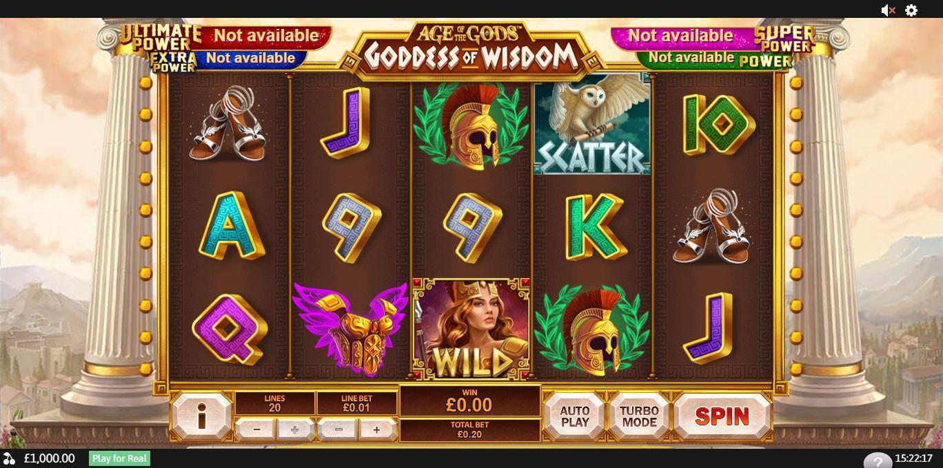 Age of the gods goddess of wisdom playtech slot game usb winners