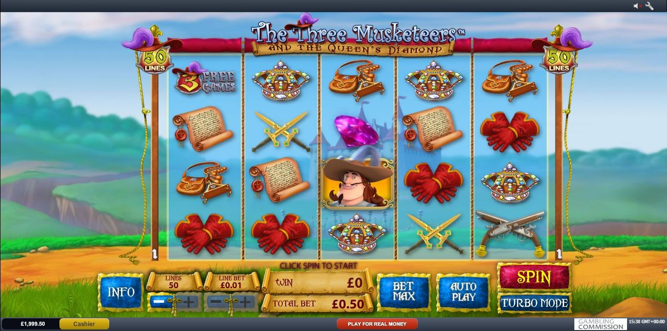 The Three Musketeers and the Queens Diamond Slot Machine